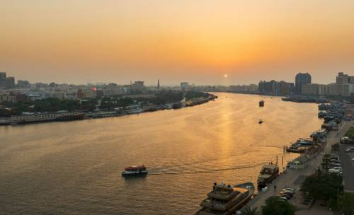 Widok na rzekę Dubai creek hotel towers