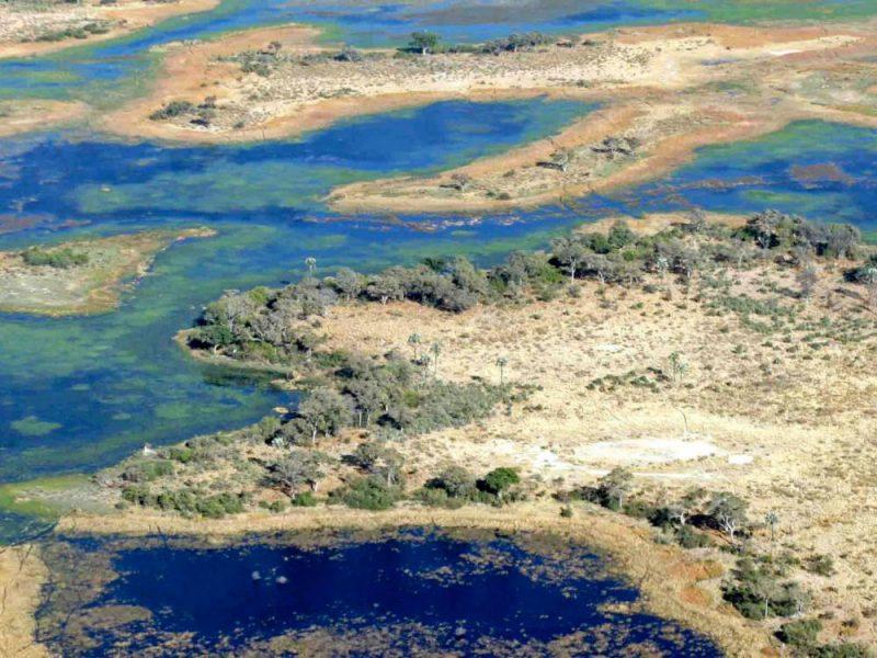 Widok zlotu ptaka na Botswane