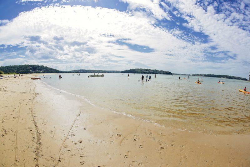 turyści zażywający kąpieli na plaży w Sydney w słoneczny dzień