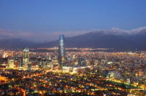 Panorama Chile Santiago, Con Torre, Nocą