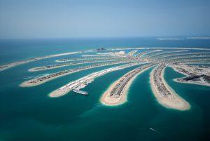widok z lotu ptaka na Wyspy Palmowe w Dubaju