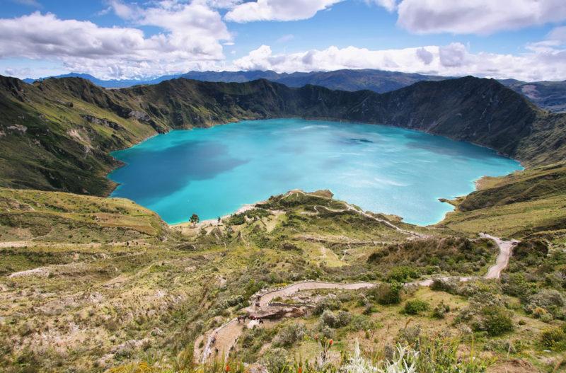 Panorama ujmująca jezioro, Ekwador