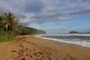 tropikalna plaża w Kostaryce w pochmurny wietrzny dzień