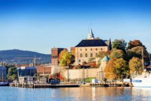Akershus blisko morza, Oslo, Norwegia