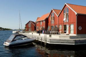 Domki w zatoce, Norwegia