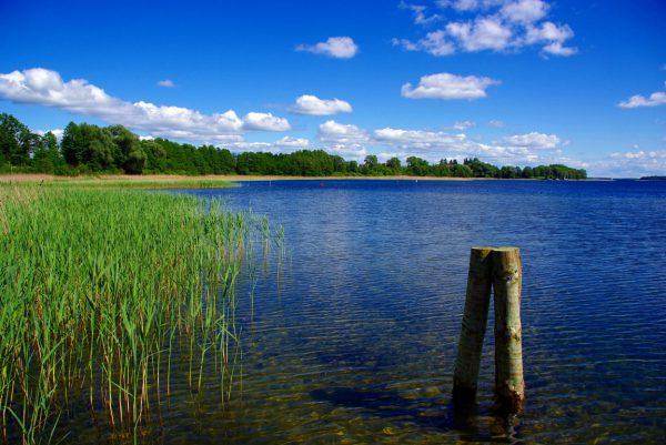 widok na jezioro mazurskie w słoneczny dzień, w tle pola i lasy