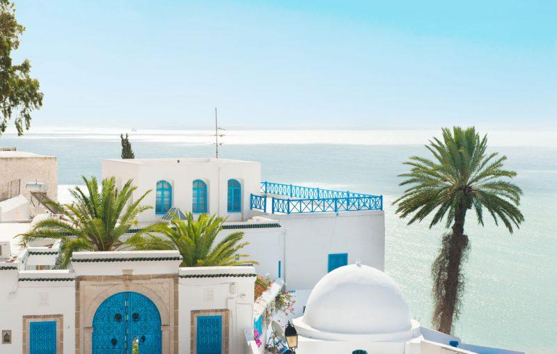 Niebieskie elementy na białych budynkach, Tunezja