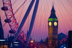Big Ben oraz London Eye w nocnej odsłonie