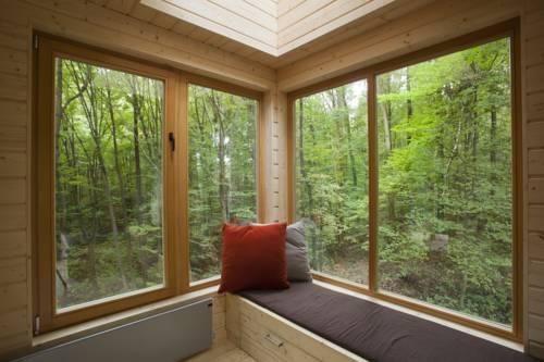 Pokój w środku lasku z widokiem na drzewa