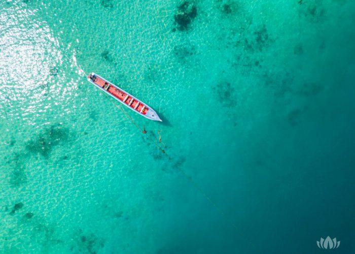widok z lotu ptaka na brzeg pięknej wyspy w słoneczny dzień